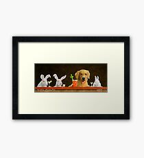 Will Bullas / art print / hare of the dog with a young blond... / humor / animals Framed Print