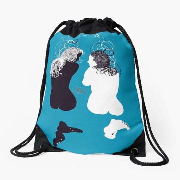 black girl white girl Drawstring Bag