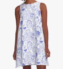 Feminist Pioneers Toile in Royal Blue with Women from Around the World A-Line Dress