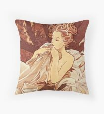 """Alphonse Mucha (1860 – 1939) """"Dusk"""" Throw Pillow"""