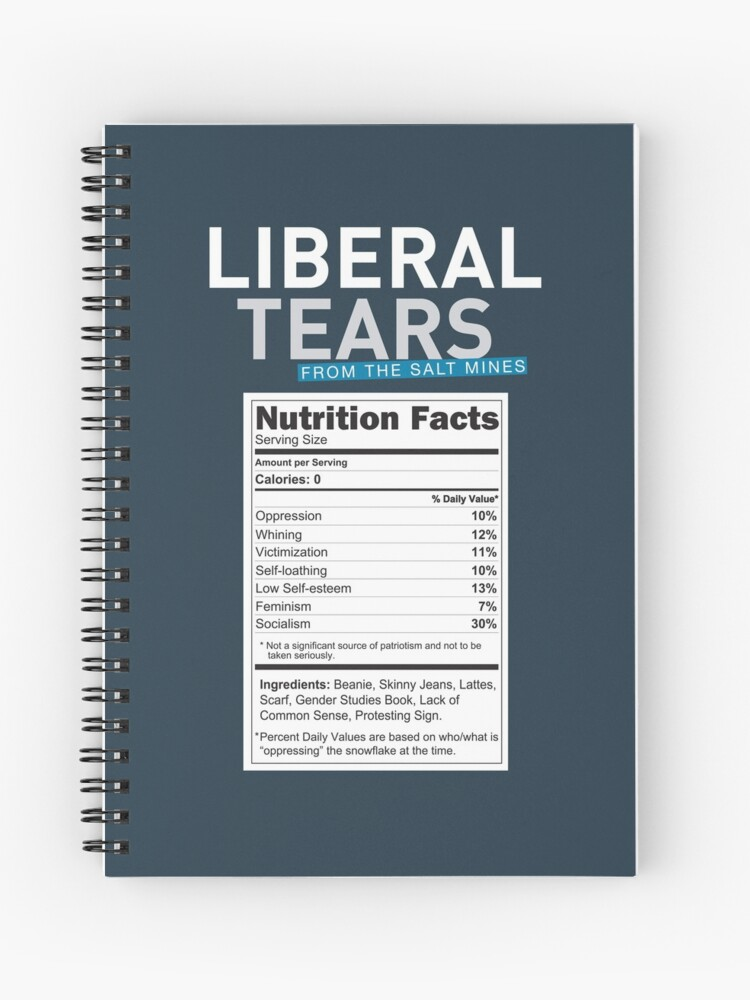SPECIAL Liberal/Democrat Tears From the Salt Mines Logo with salty tears  supplement facts - Online Store   Spiral Notebook