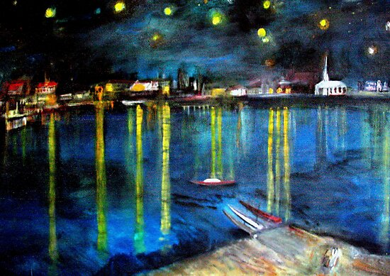 Starry Night over the Rhone /   My  Version of  Vincent  van  Gogh's painting of Arles at night;        ( My Paintings)  by fiat777