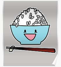 a0506fdbaa2 Happy bowl of white rice chopsticks carbs Japanese Poster
