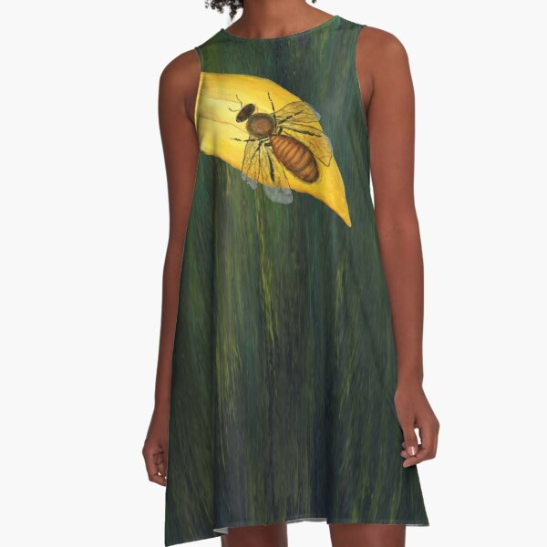 Big Bee On Green by Cecile Grace Charles A-Line Dress