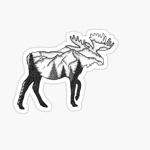 Moose Mountain Scene Sticker