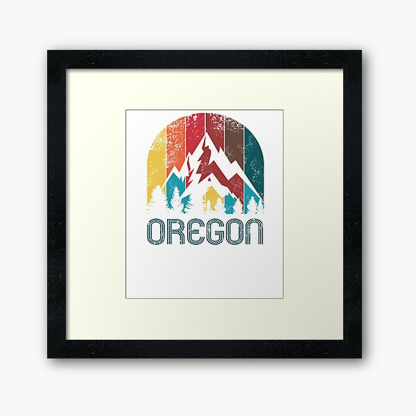 Retro Oregon Hoodie for Men Women and Kids Framed Art Print