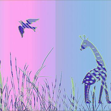 Giraffe and Bird - Panoramic von fuxart
