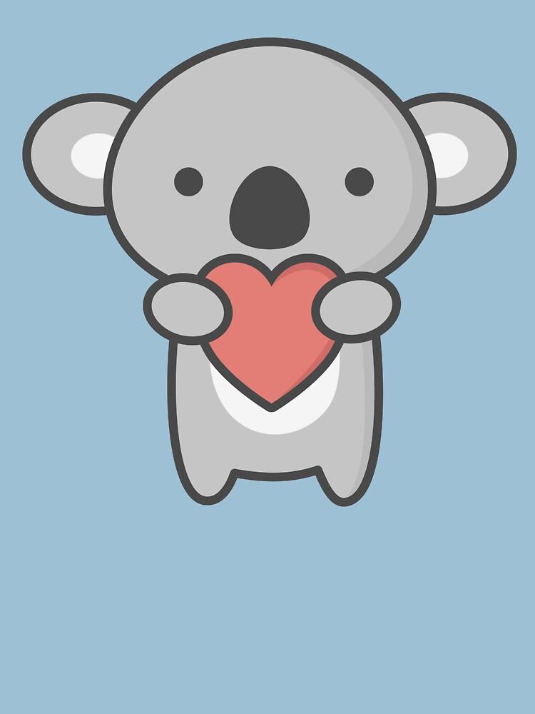 Kawaii linda koala con el corazón de happinessinatee