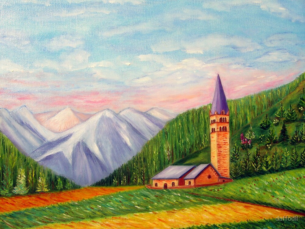 Landscape painting by daffodil