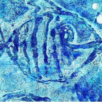 The Blue Fish Monoprint with Collage by Heatherian