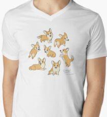 Playful Corgi Sketches Men's V-Neck T-Shirt
