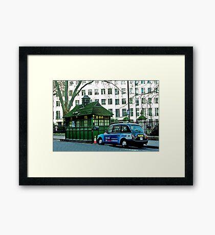 London Cab and Hut Framed Print