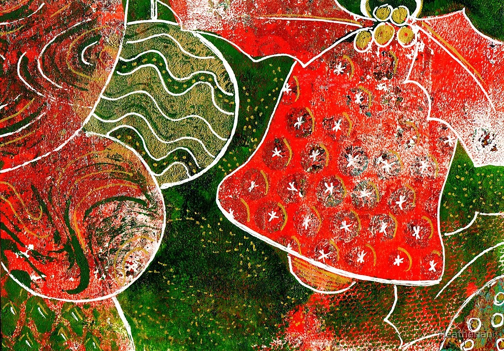 Xmas Design 104 Monoprint with Ink by Heatherian