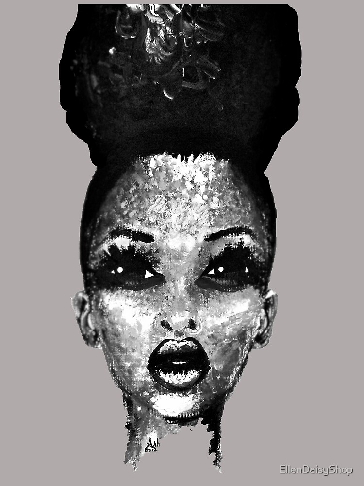 Positive Me Afro Puff Beauty Black And White  by EllenDaisyShop