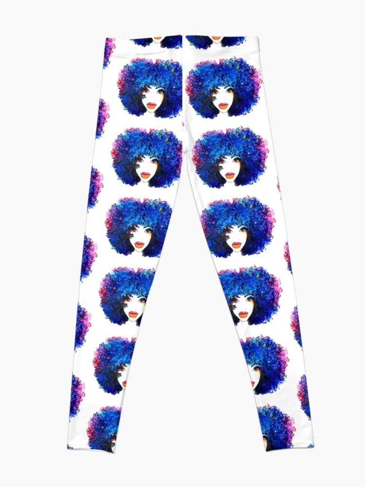 Alternative Ansicht von Blaues Afro-gelocktes Haar-Mädchen Brown mustert natürliche Haar-Königin Leggings