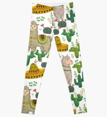 Seamless pattern with llama animal, sombrero, cacti and floral elements Leggings