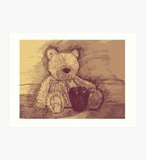 bear and apple Art Print