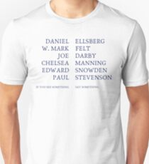 If You See Something, Say Something (ink blue text) Unisex T-Shirt