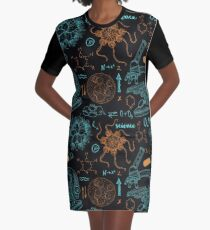 Vintage seamless pattern old chemistry laboratory with microscope, tubes, formulas, microbes and viruses. Graphic T-Shirt Dress