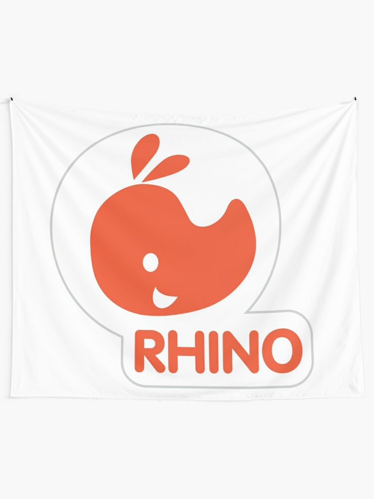 Alternate view of emblem of a red rhinoceros Tapestry