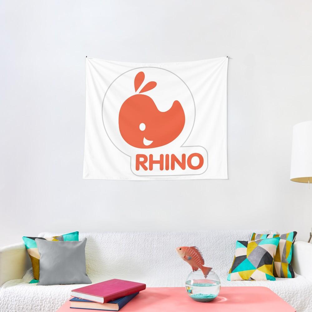 emblem of a red rhinoceros Tapestry