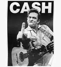 Johnny Cash mit Logo Poster