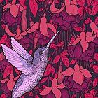 Hummingbird and fuchsia by Katerina Kirilova