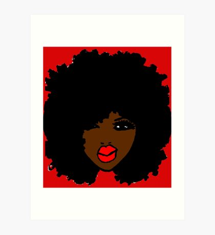 Brown Skin Curly Natural Hair Flower Red Lips Art Print