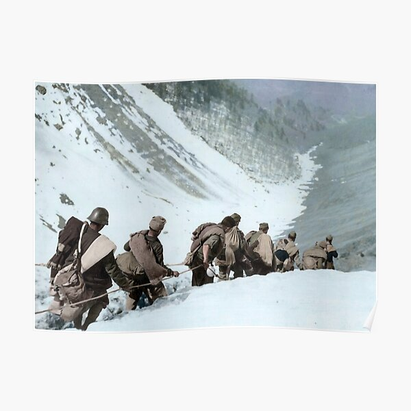 Republican soldiers crossing the border in the Pyrenees, 1938.  Poster