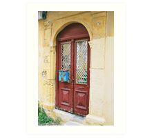 Brown door with Blue mail box,Rhodes Art Print