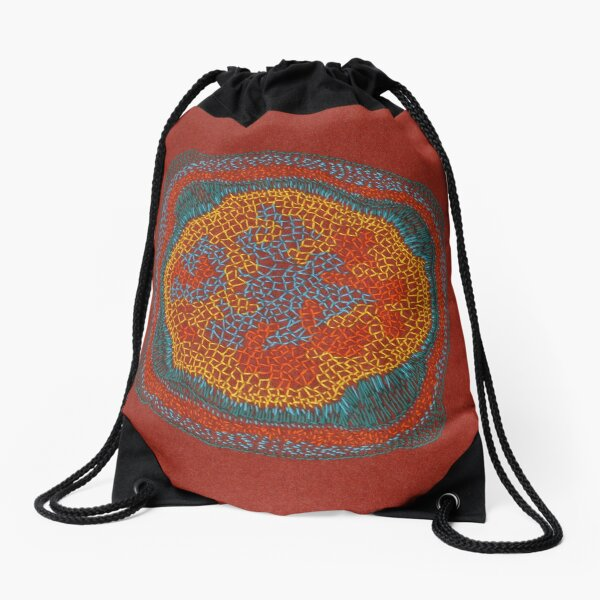 Growing - Lamium - embroidery of plant cells Drawstring Bag