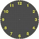 Dots clock yellow numerals on black face by MikeWhitcombe