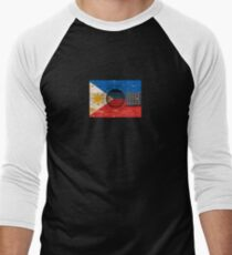 Old Vintage Acoustic Guitar with Filipino Flag Men's Baseball ¾ T-Shirt