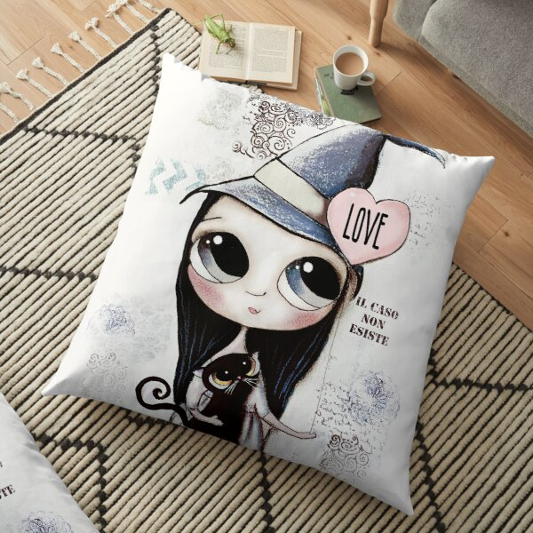 Witch with black hair and black cat and heart of Love Floor Pillow