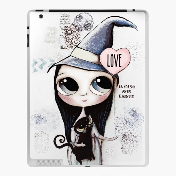 Witch with black hair and black cat and heart of Love iPad Skin
