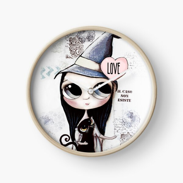 Witch with black hair and black cat and heart of Love Clock