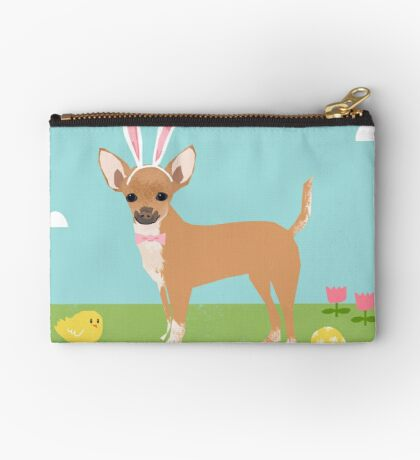 Chihuahua dog breed easter bunny costume pet portrait chihuahuas  Zipper Pouch