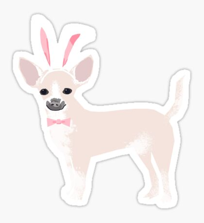 Chihuahua dog breed easter bunny costume pet portrait chihuahuas white coat Sticker