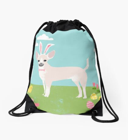 Chihuahua dog breed easter bunny costume pet portrait chihuahuas white coat Drawstring Bag