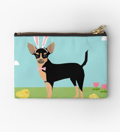 Chihuahua dog breed easter bunny costume pet portrait chihuahuas black and tan Zipper Pouch