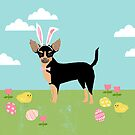 Chihuahua dog breed easter bunny costume pet portrait chihuahuas black and tan by PetFriendly