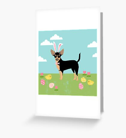 Chihuahua dog breed easter bunny costume pet portrait chihuahuas black and tan Greeting Card
