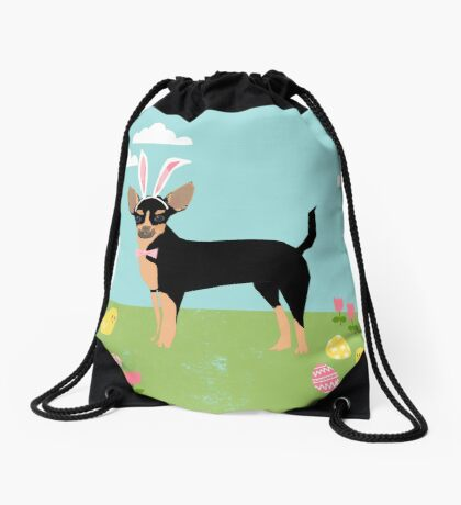Chihuahua dog breed easter bunny costume pet portrait chihuahuas black and tan Drawstring Bag