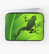Frog Shape on Green Leaf Laptop Sleeve