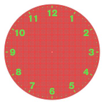 Dots clock green numerals on red face by MikeWhitcombe