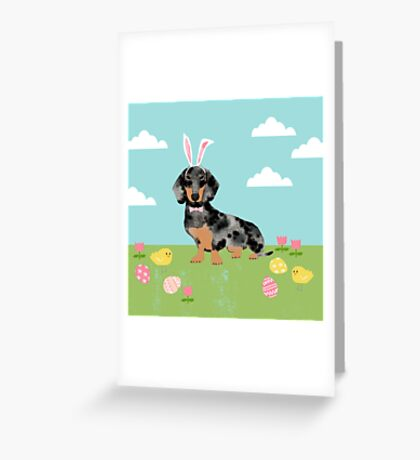 Dachshund dog breed easter pet portrait dog breed gifts pure breed dachsie doxie dapple Greeting Card