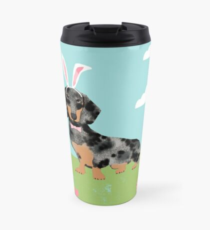 Dachshund dog breed easter pet portrait dog breed gifts pure breed dachsie doxie dapple Travel Mug
