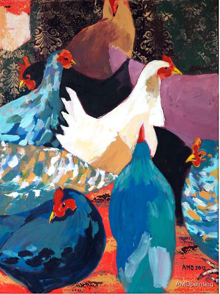 Barnyard Chickens by AMOpainting