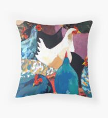 Barnyard Chickens Throw Pillow