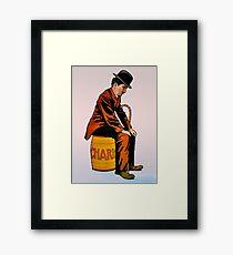 Charlie Chaplin sitting on a barrel, vintage movie poster Framed Print
